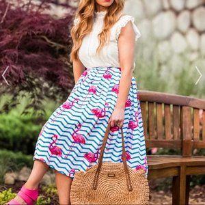 {Chicwish} Chevron Stripe Flamingo Print Skirt
